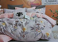 Байковий комплект постільної білизни Байка ( фланель) Квіти двосторонній Бежевого кольору