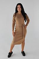 Платье трикотажное с поясом, коричневое