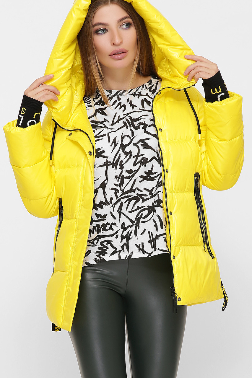 Яркая женская куртка, зимняя, спортивный стиль S L 2XL