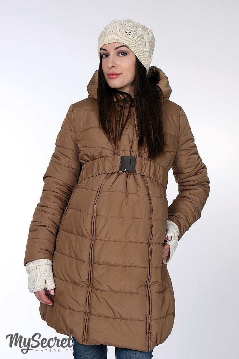 Очень теплая куртка для беременных Neva (песочная) - Интернет-магазин