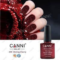 Гель лак Canni 209 (вишневый с мелкими красными блестками и микроблеском (эффект 3D))