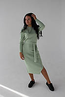 Платье трикотажное с поясом, светло-мятное