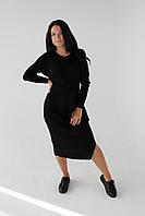 Платье трикотажное с поясом, черное