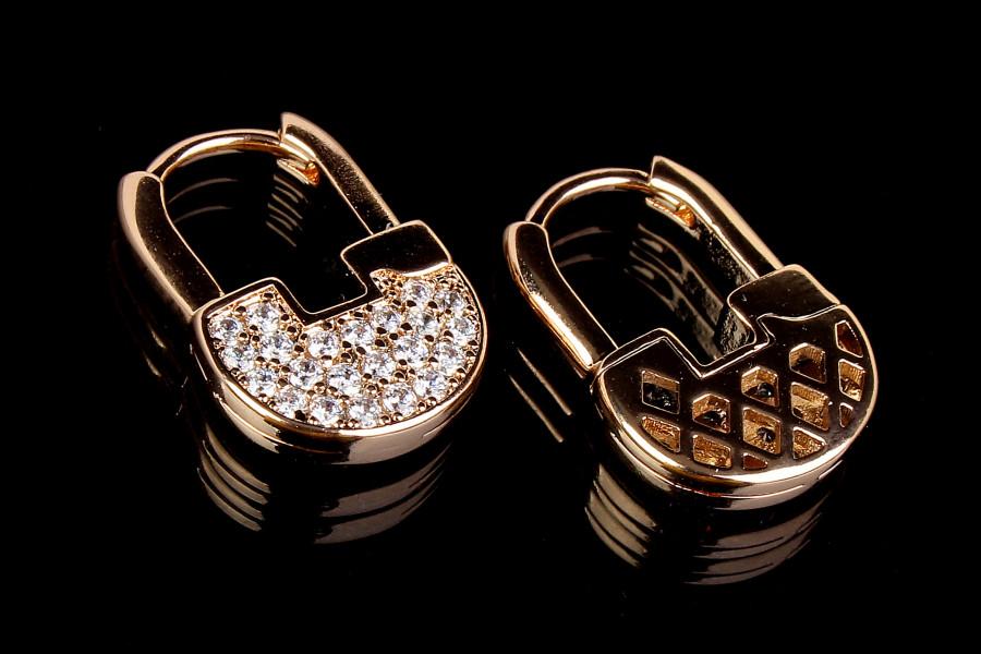 Сережки замочки з камінням під золото XUPING з медичного сплаву, жіночі сережки у вигляді замку позолота