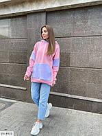 Женская молодежная теплая худи с капюшоном на флисе из трикотажа трех-нитка р-ры 42-46, фото 1