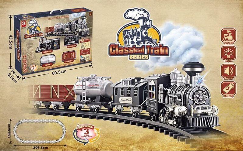 """Залізниця 3072 (8) """"Паровоз"""", на батарейках, 16 елементів, довжина шляхів 206 см, 3 вагони, дим, звук,"""