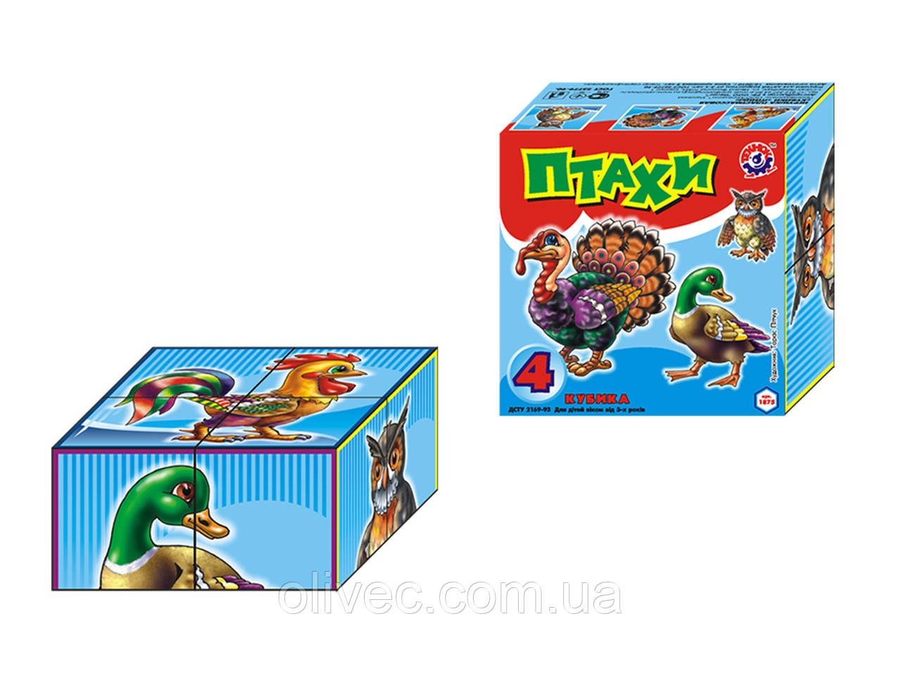"""Кубики детские развивающие """"Птахи"""" ТМ """"ТехноК"""" 4 кубика"""