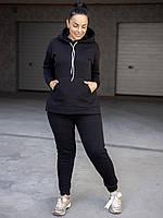 Чёрный тёплый костюм size+ в увеличенных размерах, фото 1