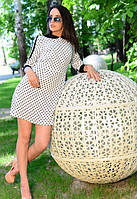 Женское белое платье в горошек с коротким рукавом