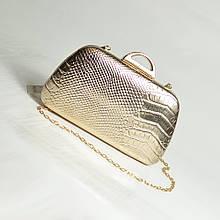 Вечірній клатч модний золотистий бокс красива міні сумочка маленька на ланцюжку випускний клатч через плече