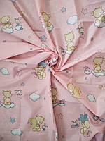 Ткань бязь Gold для детского постельного мишки на розовом