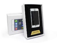 Аккумуляторная электро импульсная спиральная USB зажигалка S-005 в виде Айфона в подарочной