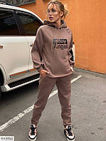 Стильний однотонний теплий спортивний костюм з трехнитки штани і кофта з накатом Розмір:42-44,46-48 арт. 5277, фото 1