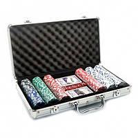Набор для игры в покер в алюминиевом кейсе (300 фишек, две колоды карт)