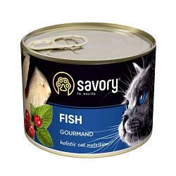 Корм консервы Savory для взрослых кошек всех пород с рыбой 200 г