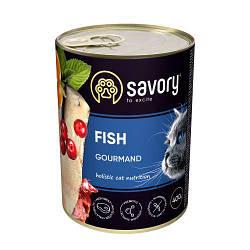 Корм консервы Savory для взрослых кошек всех пород с рыбой 400 г