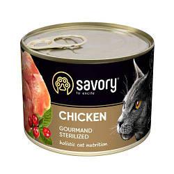 Корм консервы Savory для взрослых кастрированных котов с курицей 200 г
