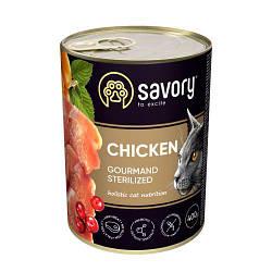 Корм консервы Savory для взрослых кастрированных котов с курицей 400 г