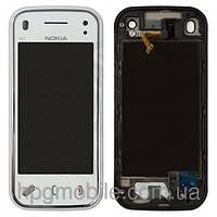 Touchscreen (сенсорный экран) для Nokia N97 Mini, с передней панелью, белый, оригинал