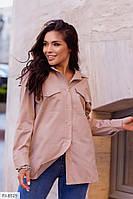 Женская блузка туника из коттона с накладными рабочими карманами р-ры 42-46, фото 1
