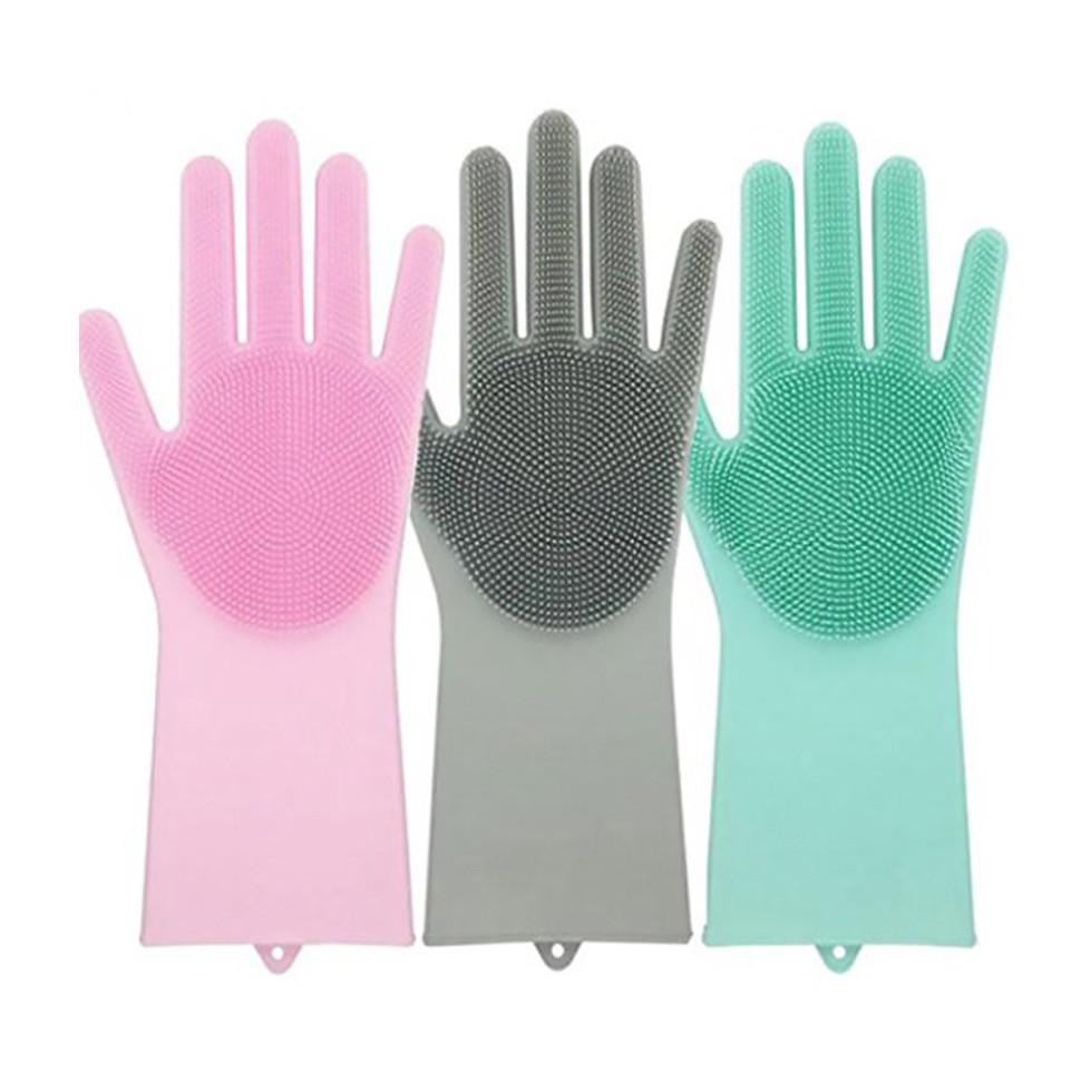 Силіконові рукавички багатофункціональні щітка для чищення і миття посуду Silicone Magic Gloves