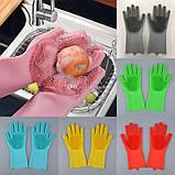 Силіконові рукавички багатофункціональні щітка для чищення і миття посуду Silicone Magic Gloves, фото 4
