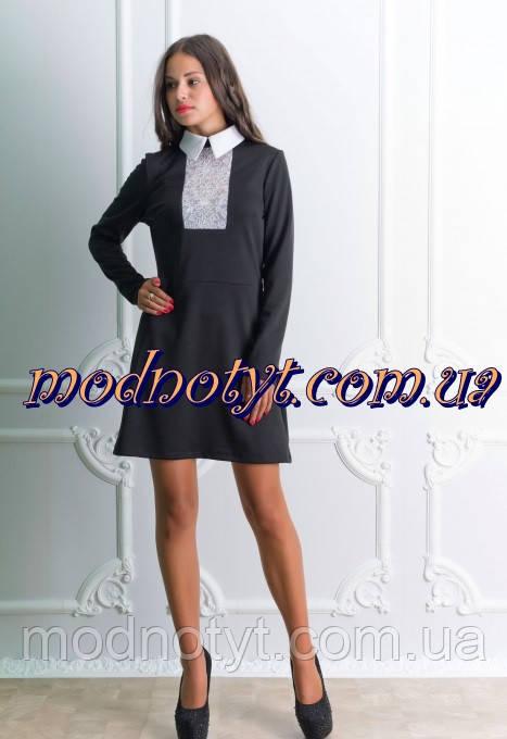 Черное платье с белой вставкой фото