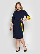 Жіноче плаття полуприталенного силуету Джулія синій розмір 50-56 / для повних дівчат, фото 2
