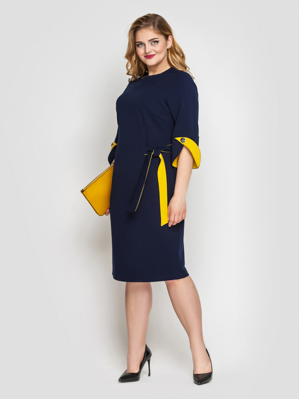 Жіноче плаття полуприталенного силуету Джулія синій розмір 50-56 / для повних дівчат