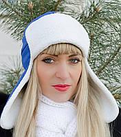 Стильная женская шапка-ушанка, цвета в ассортименте