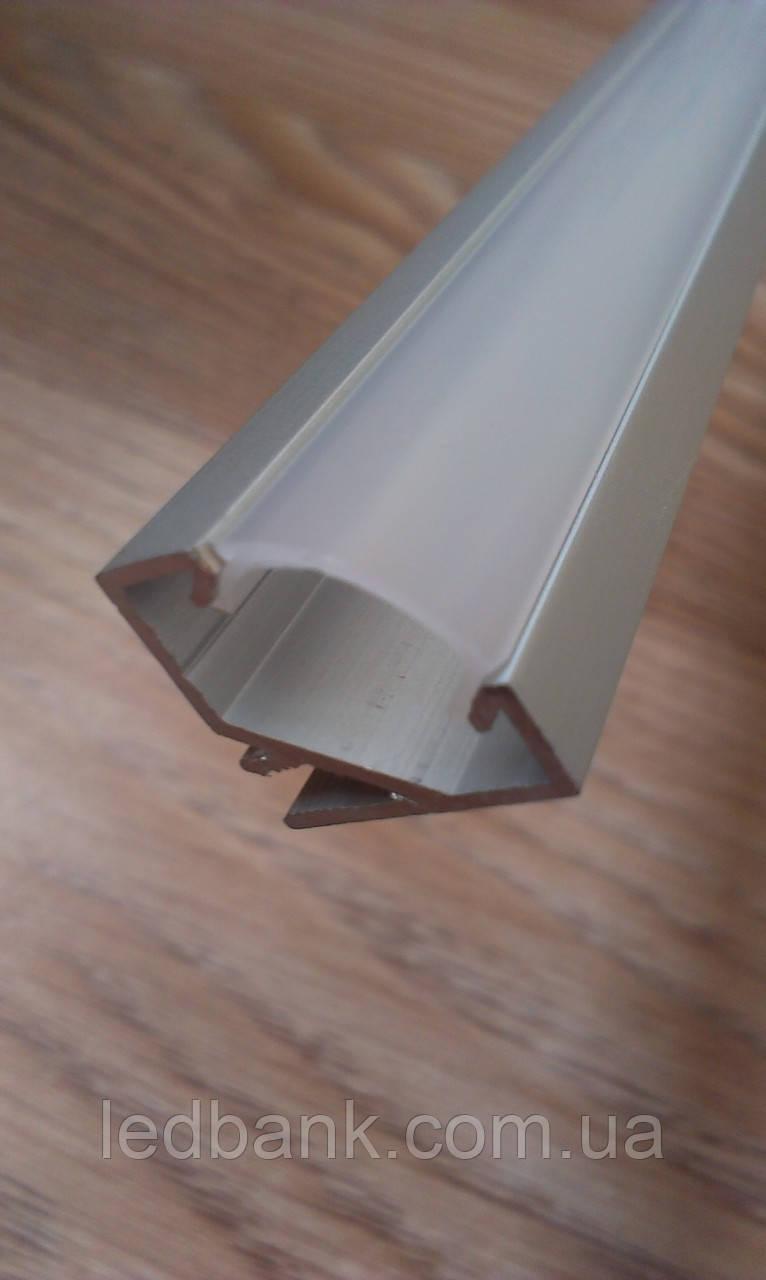 Алюминиевый профиль для светодиодной ленты угловой с рассеивателем LED-07 (ЛПУ-17)