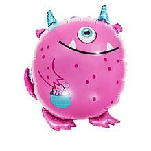 Фольгированный шар большая фигура монстрик розовый 52,5х59см Китай