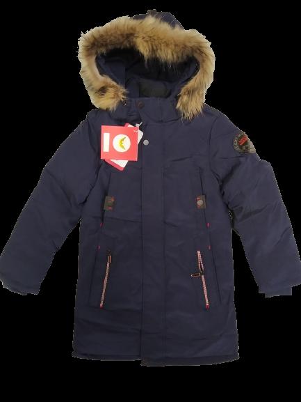 Зимняя куртка на подростков мех натуральный енот цвет темно синий  152 см