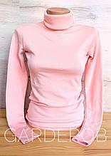 Тёплый женский гольф / водолазка на флисе, XS - S (40-42-44) Кремово-розовый