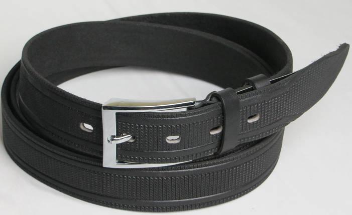 Длинный брючный мужской кожаный ремень 3069 чёрный ДхШ: 143х3,5 см.!!!, фото 2