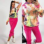 Жіночий спортивний велюровий костюм з яскравим худі, з капюшоном і кишенею кенгуру, 42, 44, 46, 48, малина, фото 3