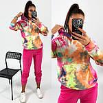 Жіночий спортивний велюровий костюм з яскравим худі, з капюшоном і кишенею кенгуру, 42, 44, 46, 48, малина, фото 4