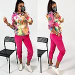 Жіночий спортивний велюровий костюм з яскравим худі, з капюшоном і кишенею кенгуру, 42, 44, 46, 48, малина, фото 8