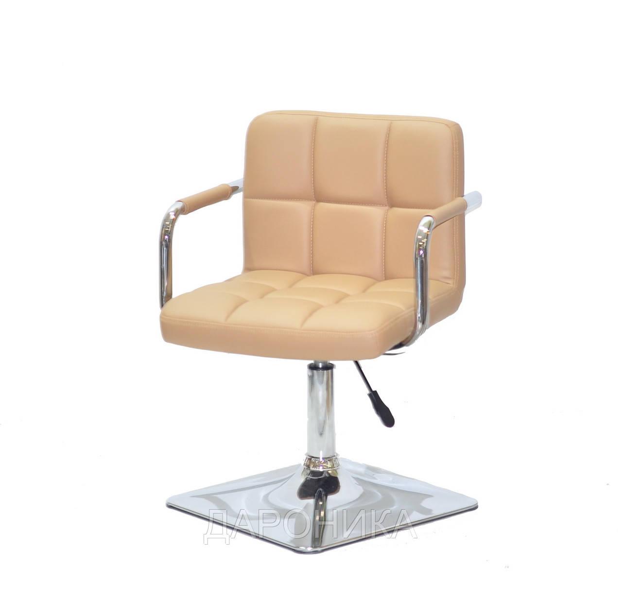 Кресло Arno-Arm 4-CH-Base бежевый 1009 кожзам, с подлокотниками на квадратном основании с регулировкой высоты