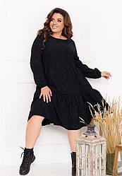Женское черное вельветовое платье свободного кроя большие размеры