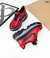 Женские зимние кожаные кроссовки на шнуровке 36-40 р красный
