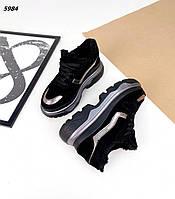 Женские зимние замшевые кроссовки на шнуровке 36-40 р чёрный