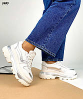 Женские зимние кожаные кроссовки на шнуровке 36-40 р белый
