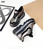 Женские зимние кожаные кроссовки на шнуровке 36-40 р никель