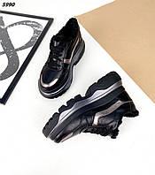 Женские зимние кожаные кроссовки на шнуровке 36-40 р чёрный