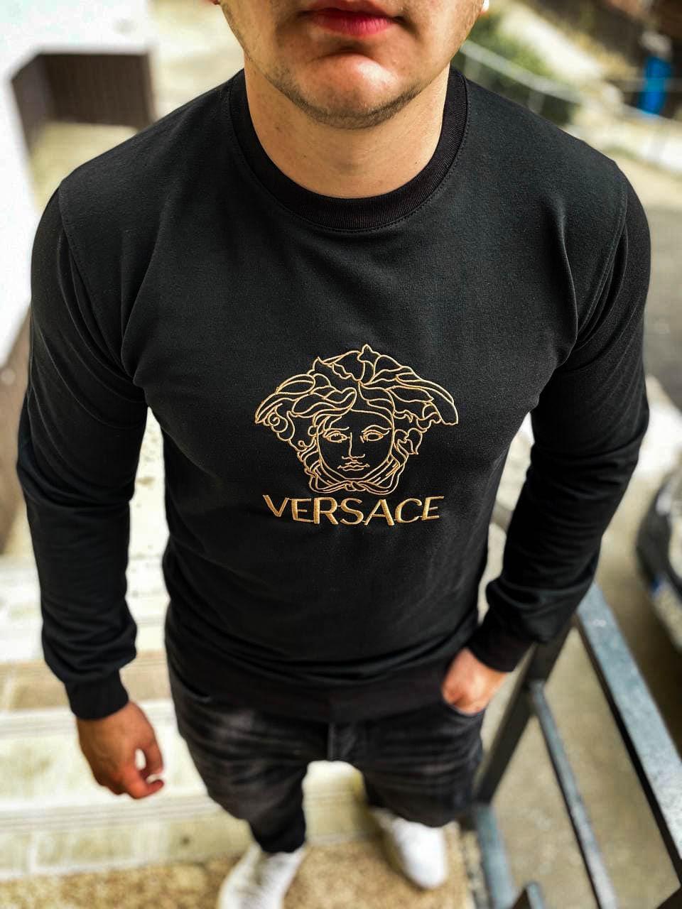 Свитерок мужской черный версаче легкий осенний модный S M L XL XXL