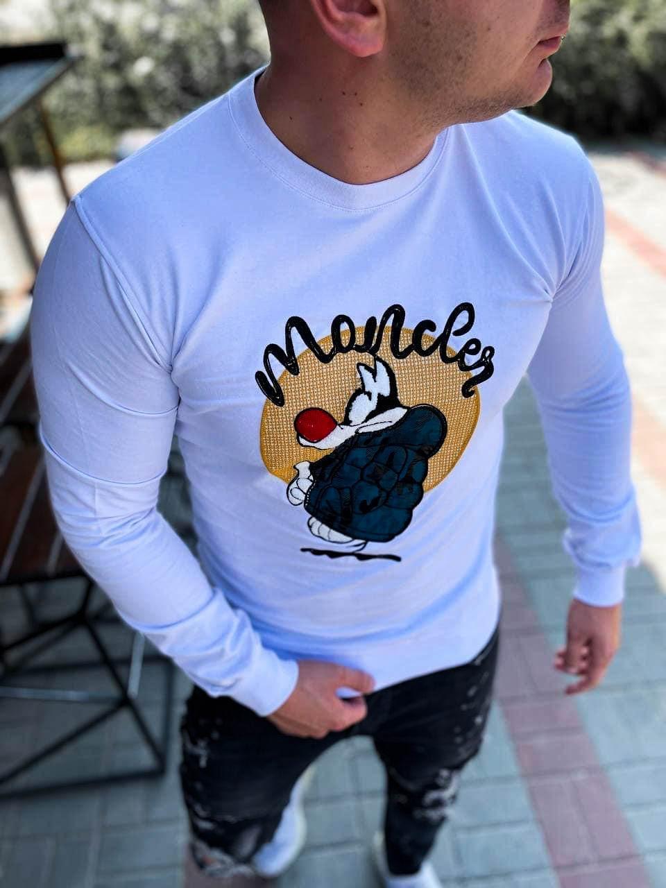 Мужской свитерок белый moncler брендовый осенний чоловічий одяг одежда пром
