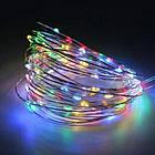Гірлянда нитка світлодіодна Краплі Роси 30 LED, Мультикольорова, дріт, на батарейках, 3м., фото 3