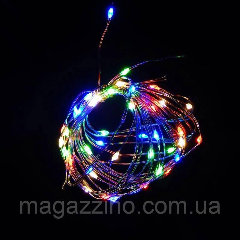 Гірлянда нитка світлодіодна Краплі Роси 30 LED, Мультикольорова, дріт, на батарейках, 3м.