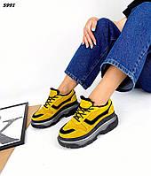 Женские зимние замшевые кроссовки на шнуровке 36-40 р горчица